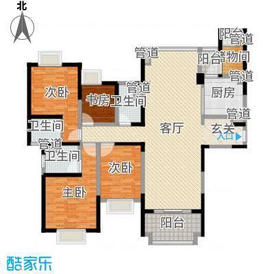 雅居乐滨江国际178.00㎡三期标准栋标准层户型4室4厅3卫1厨
