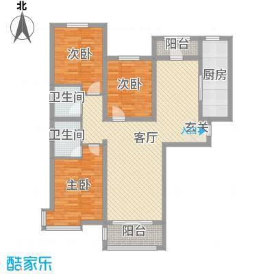 东方晨曲花苑136.15㎡3#楼标准层D户型3室3厅2卫1厨
