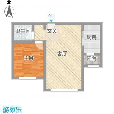 东方晨曲花苑84.25㎡1、2#楼标准层B户型1室1厅1卫1厨