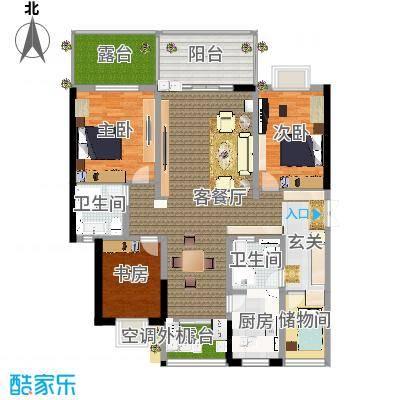高层建筑面积146平3室2厅2卫改良装修设计方案