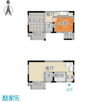 凯旋国际93.41㎡A2复式户型1室1厅2卫1厨