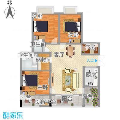 广厦城洛卡庄园114.06㎡B四层面积11406m户型-副本