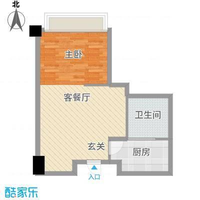 远洋壹中心51.98㎡B栋户型1室1厅1卫1厨