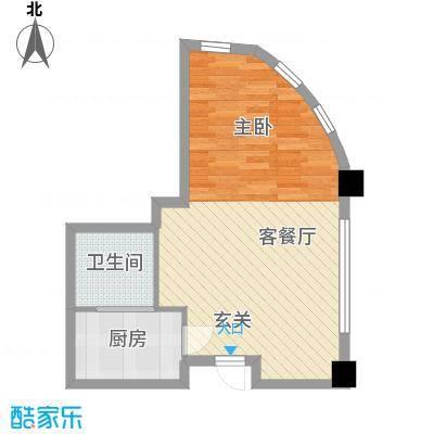 远洋壹中心51.11㎡B栋户型1室1厅1卫1厨
