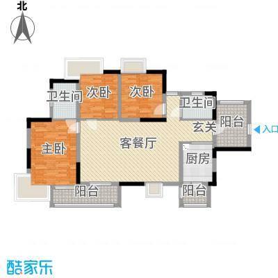 南峰华桂园116.00㎡D户型3室3厅2卫1厨