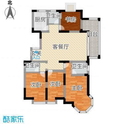 汇鑫群贤北府92.13㎡A1户型3室3厅2卫1厨