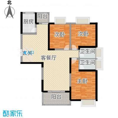 汇鑫群贤北府134.89㎡8#楼E2户型3室3厅2卫1厨