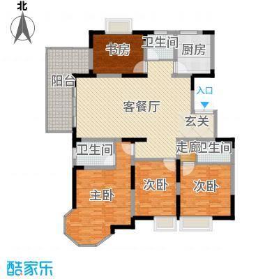 汇鑫群贤北府166.31㎡8#楼E5户型4室4厅2卫1厨