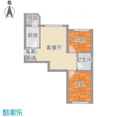文景清华园72.98㎡3号楼B户型2室2厅1卫