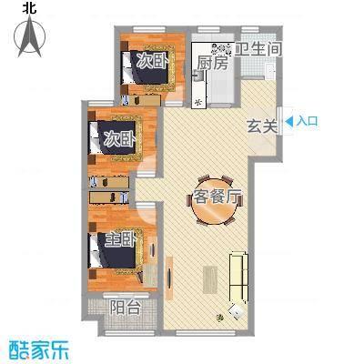 锦华广场117.30㎡G户型3室2厅1卫1厨-副本