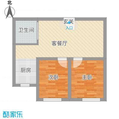 人禾金华苑54.50㎡211-545户型2室2厅1卫