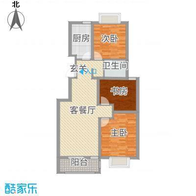 利民花园100.00㎡小高层标准层C户型3室3厅1卫1厨