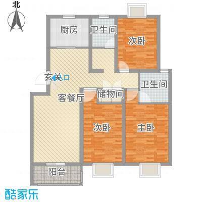利民花园120.00㎡小高层标准层B户型3室3厅1卫1厨