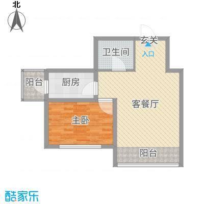 绿海华庭68.00㎡高层A户型1室1厅1卫1厨