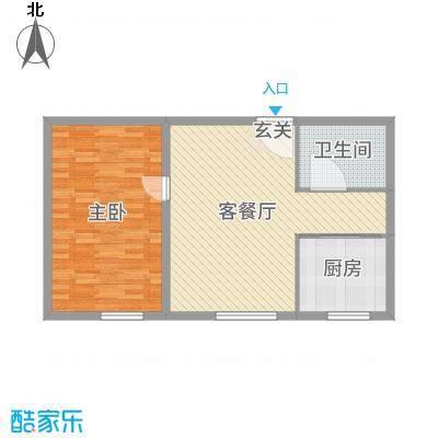 瀚城国际二期85.00㎡E-3户型1室1厅1卫1厨