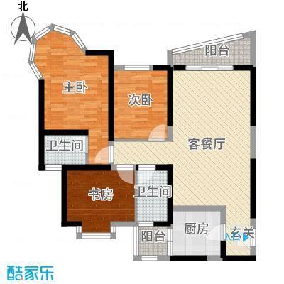 凯信水韵滨江二期公园大帝117.00㎡J户型3室3厅2卫1厨