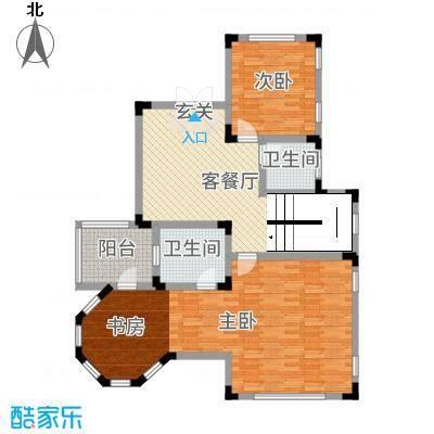 华侨花园265.31㎡N二层户型3室3厅2卫