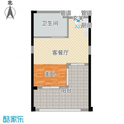 合正东部湾65.00㎡78、79#楼D2户型1室1厅1卫1厨