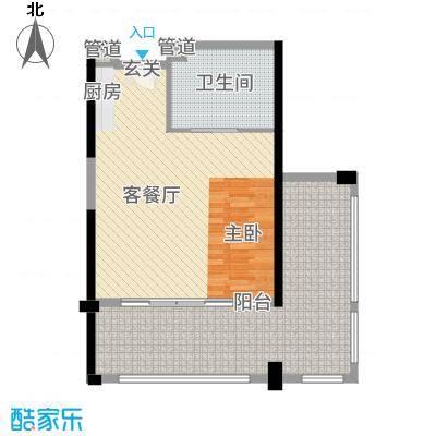 合正东部湾74.00㎡77#楼C1户型1室1厅1卫1厨