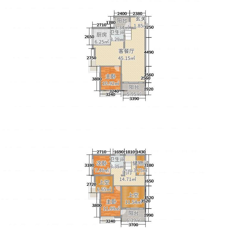 中信水岸城153.68㎡四期53/57栋顶层复式a1户型3室3厅图片