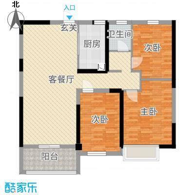 碧桂园城市花园103.60㎡二期海棠苑1号楼标准层YJ110T-B户型3室3厅1卫1厨