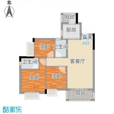 金龙居100.25㎡2栋2-8标准层03户型3室3厅2卫1厨
