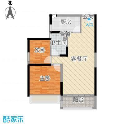 碧桂园城市花园83.00㎡一期标准栋标准层YJ80T-B户型2室2厅1卫1厨