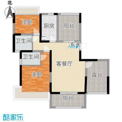 华地紫园130.00㎡13#、17#纯板式高层D-01户型2室2厅2卫
