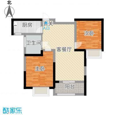 华地紫园89.00㎡23号楼户型2室2厅1卫1厨