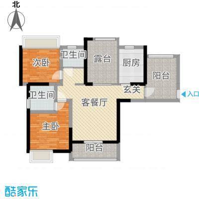 华地紫园101.00㎡21#g-01户型2室2厅2卫1厨