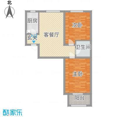 华普城90.29㎡6区4#标准层C户型2室2厅1卫1厨