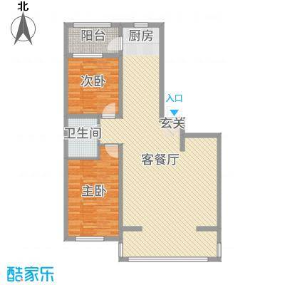 盛世香湾112.52㎡G6/7号楼A2户型2室2厅1卫1厨