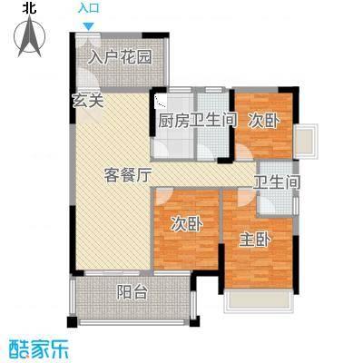 东江学府111.00㎡5期2-3栋3B户型3室3厅2卫1厨