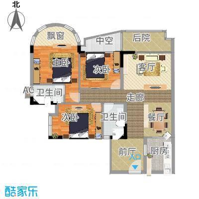 茗雅荟128.00㎡A户型01单位户型3室2厅2卫-副本