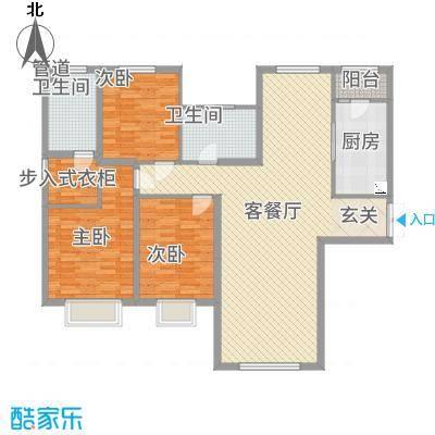 融创王府壹�156.35㎡三期高层8号楼标准层Q户型3室2厅2卫1厨