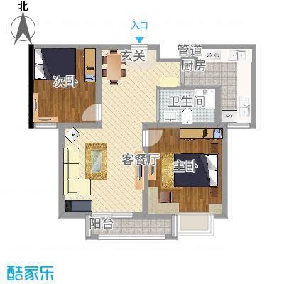 港利・锦绣江南 83.81方A2户型两室两厅