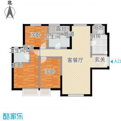 融创王府壹�三期高层3号楼标准层K户型3室2厅2卫1厨