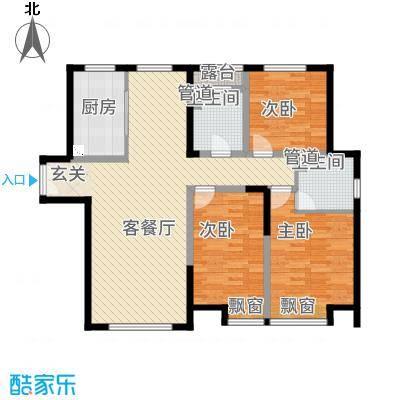 融创王府壹�131.00㎡三期高层1号楼标准层I户型3室2厅2卫1厨