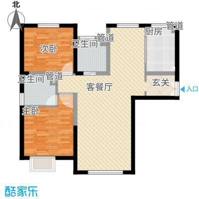 融创王府壹�15.00㎡三期高层1号楼标准层G户型2室2厅2卫1厨