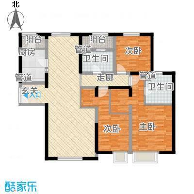 融创王府壹�156.60㎡三期高层3号楼标准层O户型3室2厅2卫1厨