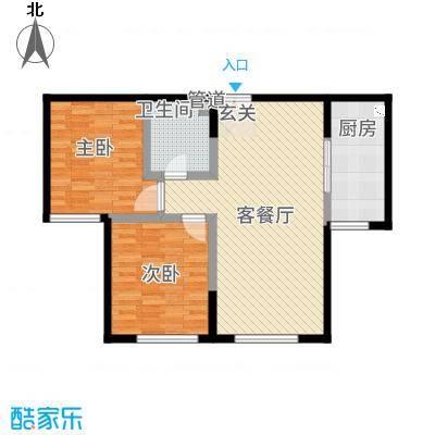 融创王府壹�3.47㎡三期高层3号楼标准层J户型2室2厅1卫1厨