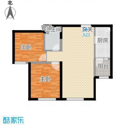 融创王府壹�2.80㎡三期高层5号楼标准层M户型2室2厅1卫1厨