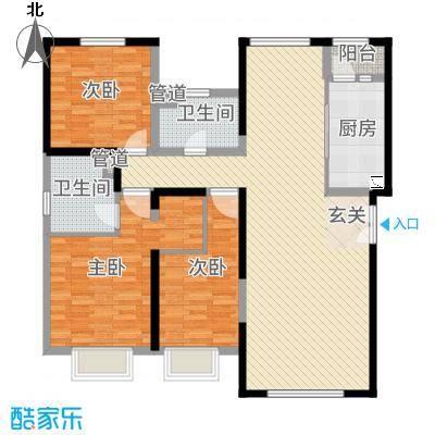 融创王府壹�14.00㎡三期高层5号楼标准层L户型3室2厅2卫1厨