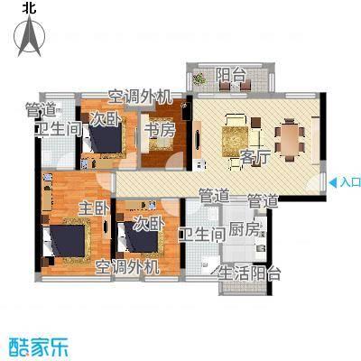 龙光天湖华府6座01户型号型115方4房