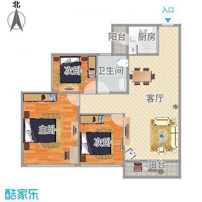 龙光天湖华府6座04户型90方3房