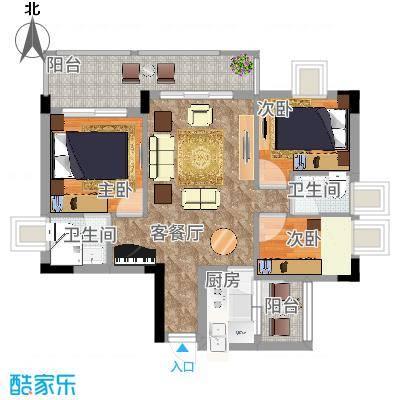 凤岗东江花园75.00㎡凤岗东江花园3室户型3室-副本-副本