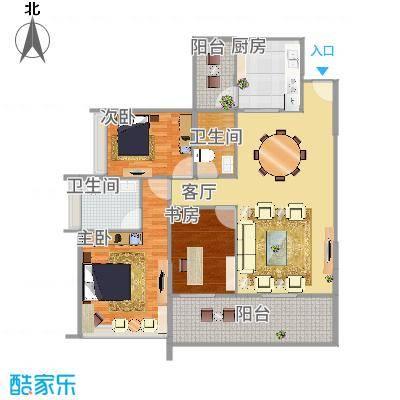 佰利山110方A3户型三室两厅-副本