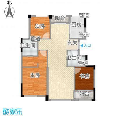 荣合公馆145.00㎡2#、4#楼标准层A户型3室2厅2卫1厨-副本