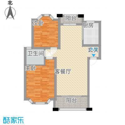 美林湾7.70㎡C1户型2室2厅1卫1厨