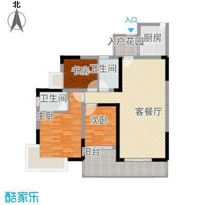 金山湖卧龙传说A1A2户型,3室2厅2卫,约101.53平米